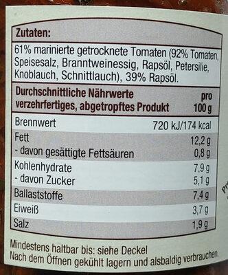 Marinierte, getrocknete Tomaten in Rapsöl - Nutrition facts - de