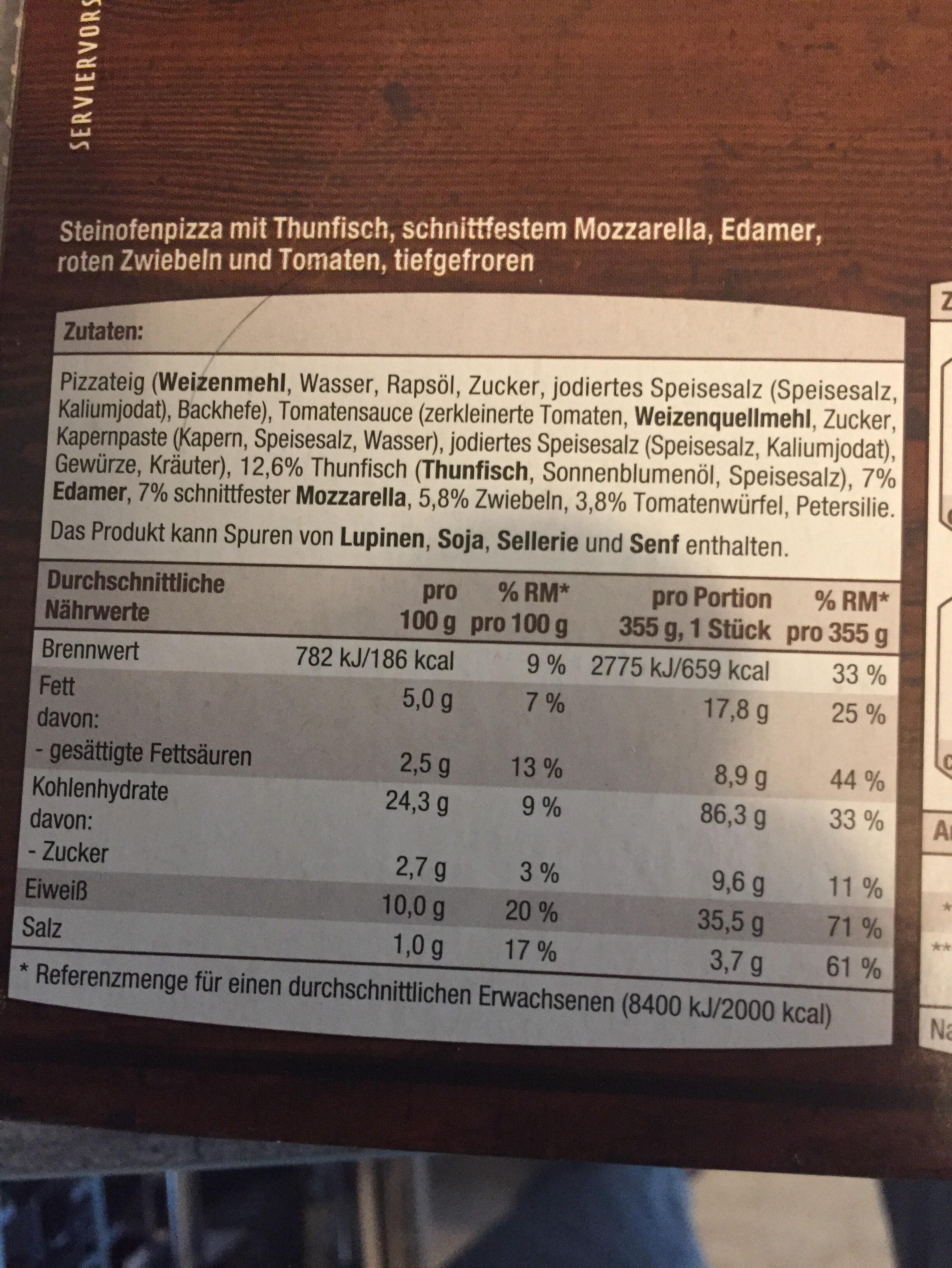 Steinofen Pizza Thunfisch - Ingredients - en