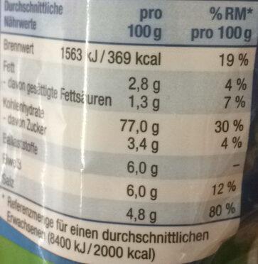 Salzsticks - Informação nutricional