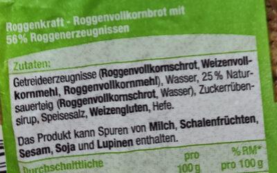 Roggenkaft - Ingrédients - de