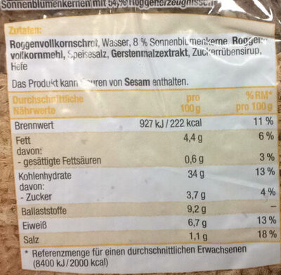 Sonnen Blumen Kernbrot - Nutrition facts