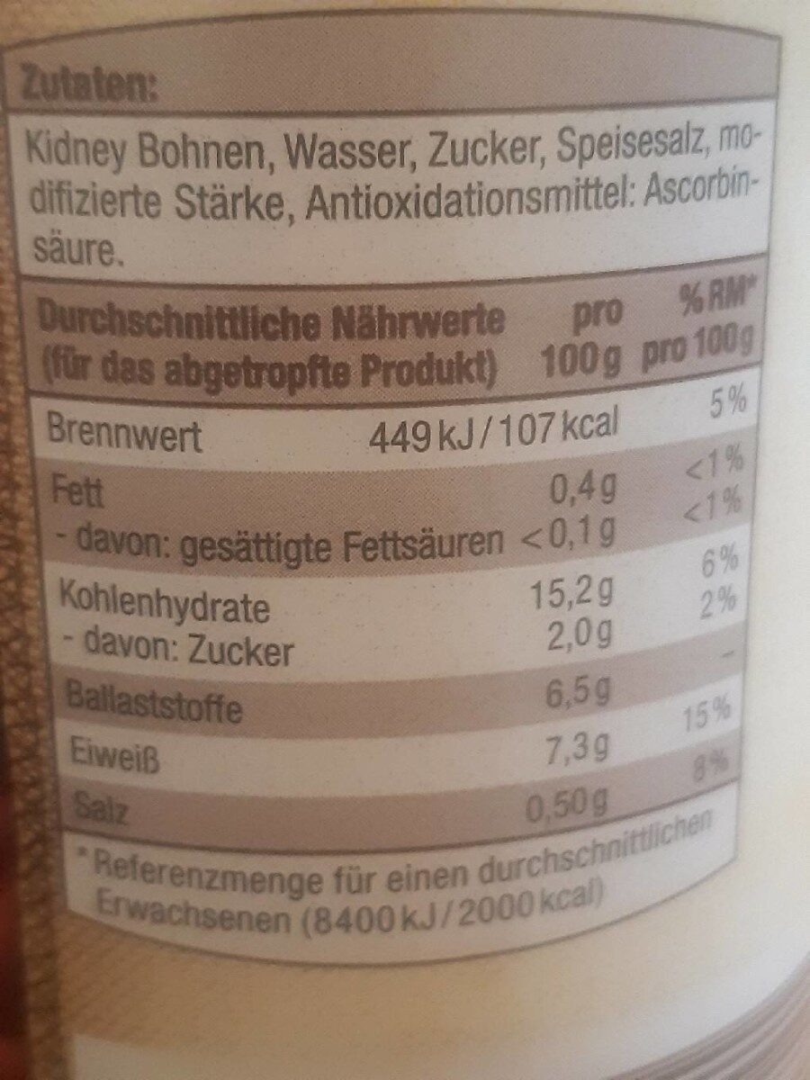 Kindney Bohnen - Nährwertangaben - de