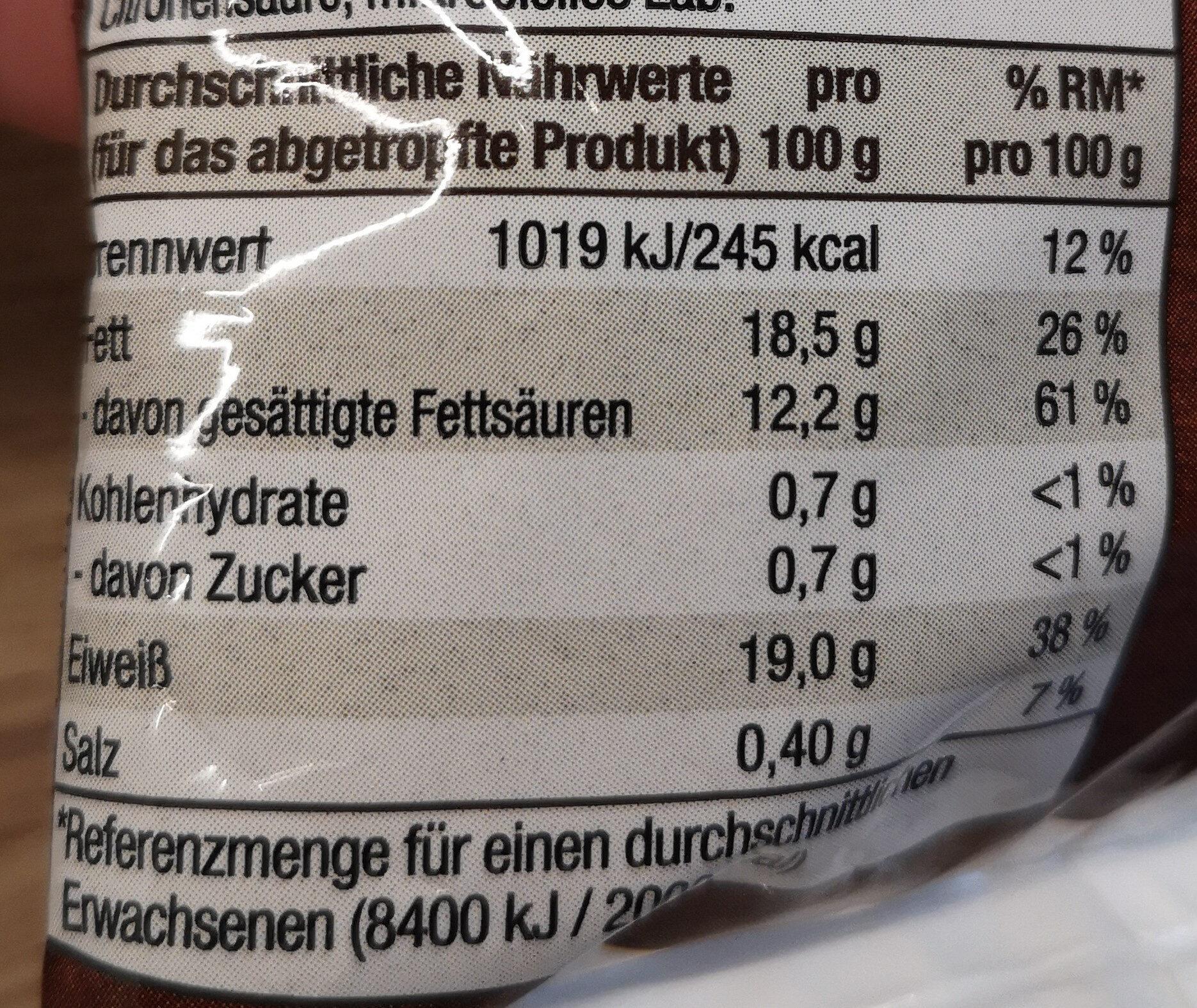 Mozzarella - Nährwertangaben - de