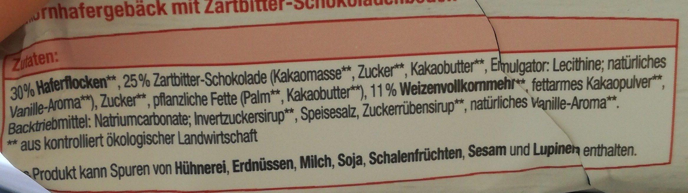Hafercookies Zartbitterschokolade - Ingredients - de