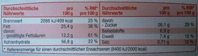 Hafercookies Zartbitterschokolade - Nutrition facts - de