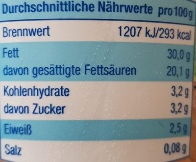 Schlagsahne wärmebehandelt 30% Fett - Nutrition facts - de