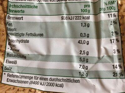 Roggen Mischbrot - Nutrition facts - de