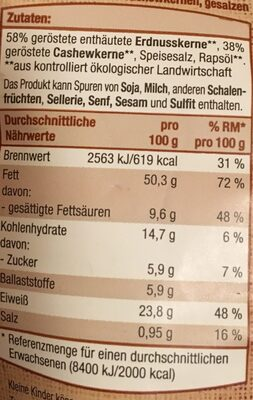 Cashew-erdnuss-mix, Geröstet - Nährwertangaben