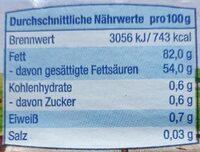 Deutsche Markenbutter - Nutrition facts - de