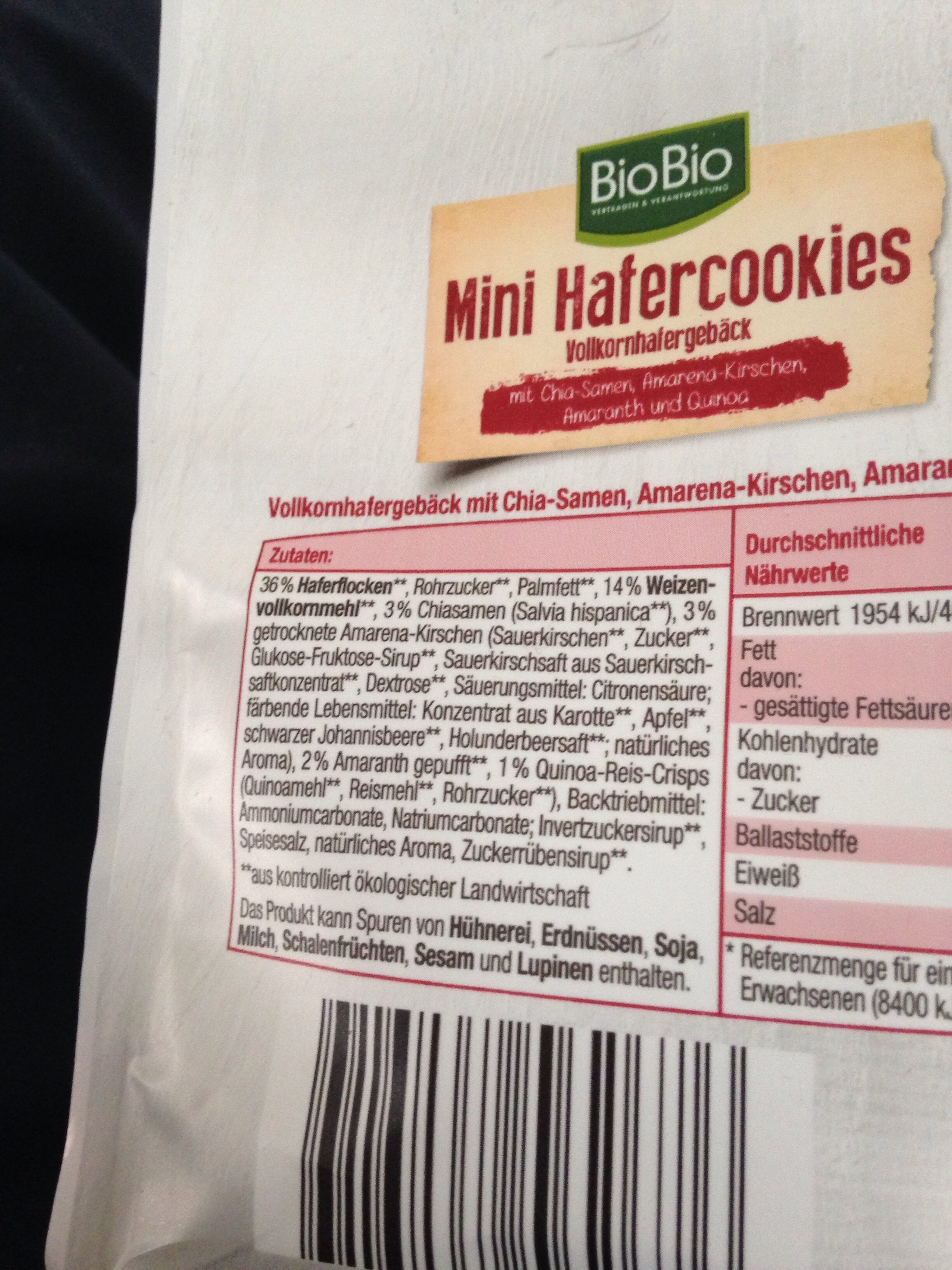 Mini Hafercookies,Kirsche - Ingredients - de