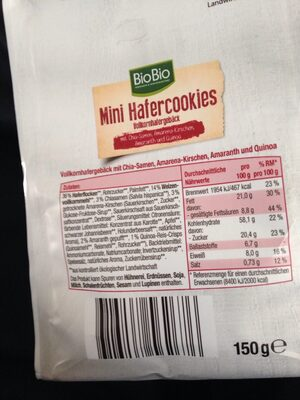 Mini Hafercookies,Kirsche - Nutrition facts - de