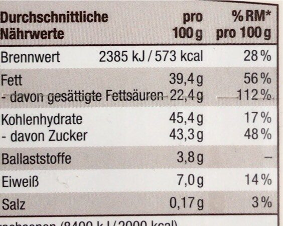 Süße Grüße feine Schokoladenstäbchen - Valori nutrizionali - de