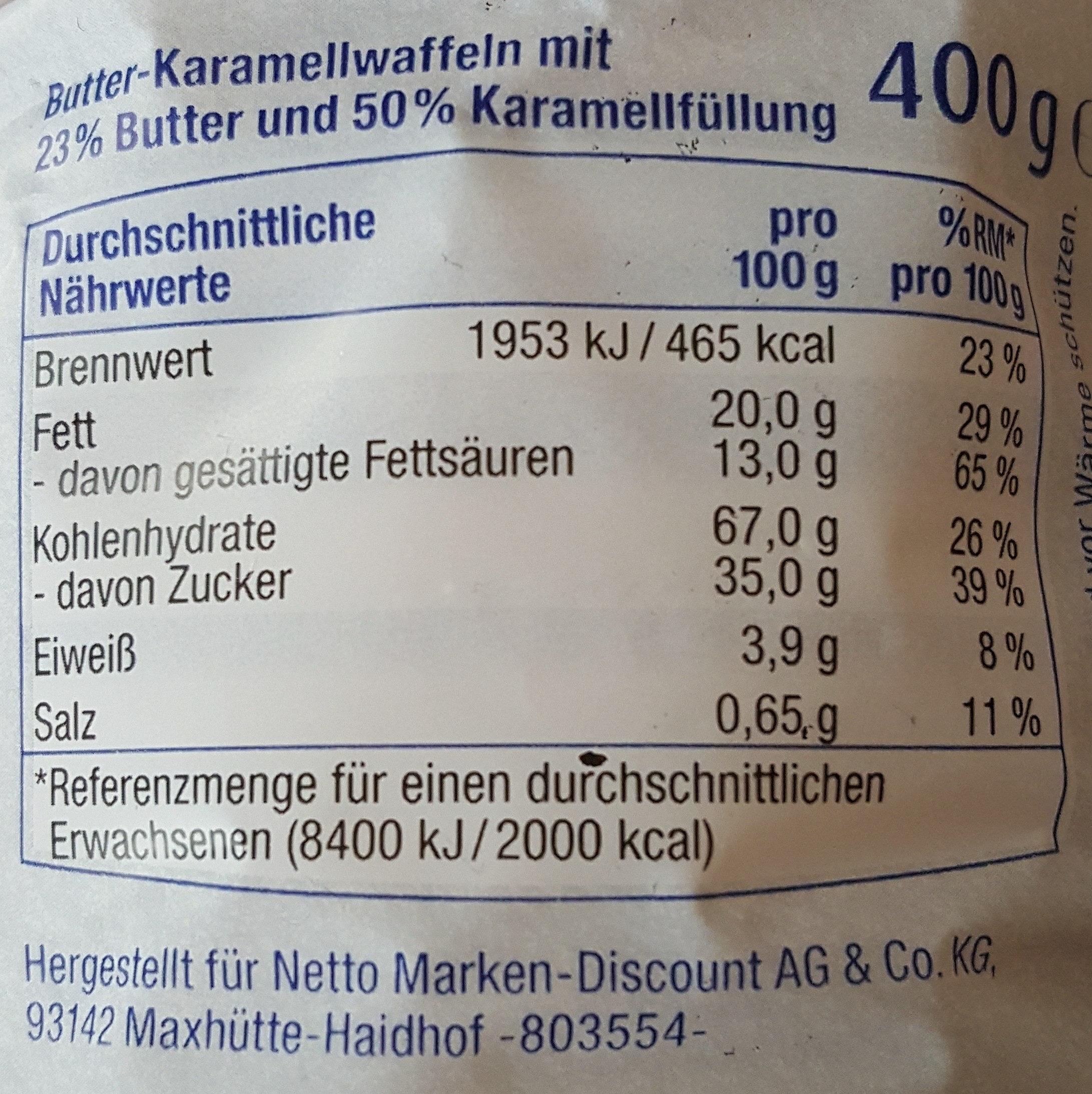 Butter-Karamell Waffeln - Nährwertangaben