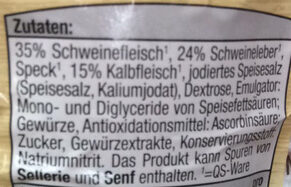 Leberwurst mit Kalbfleisch - Inhaltsstoffe