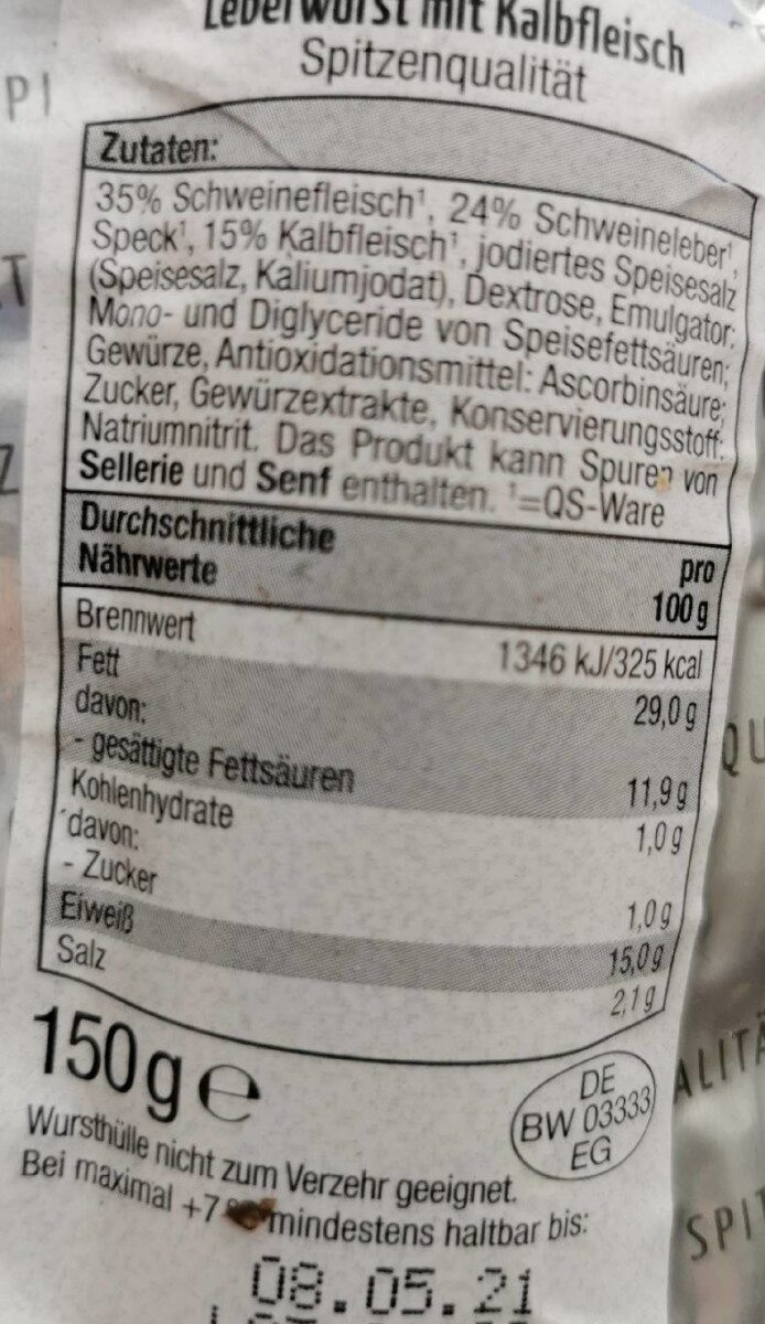 Hofmaier Leberwurst mit Kalbfleisch - Nährwertangaben - de