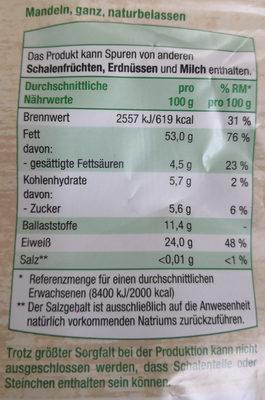 Mandeln ganz, naturbelassen - Nutrition facts - de