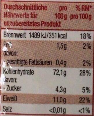 Spaghetti - Informations nutritionnelles - de