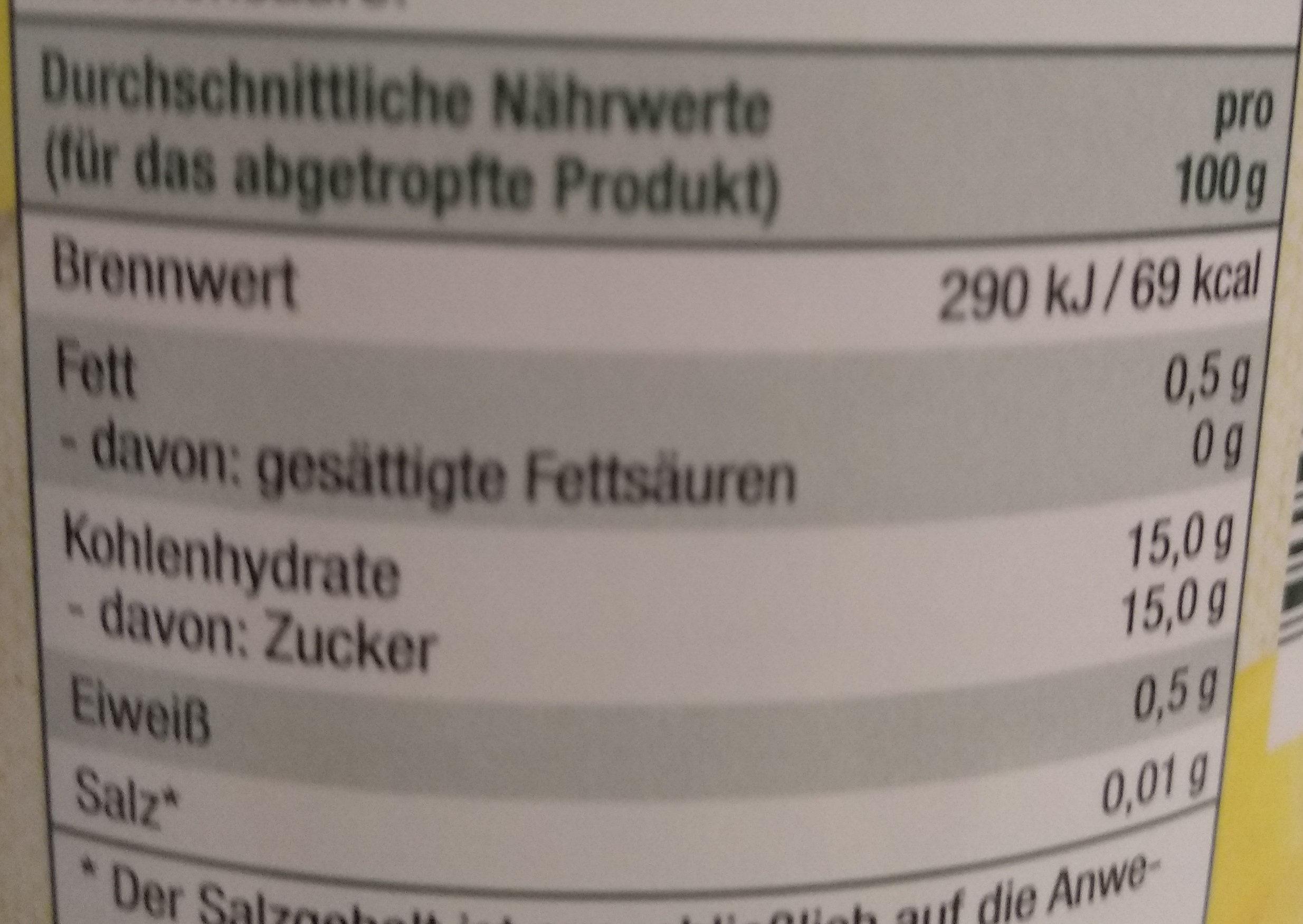 Ananasstücke - Informations nutritionnelles - de