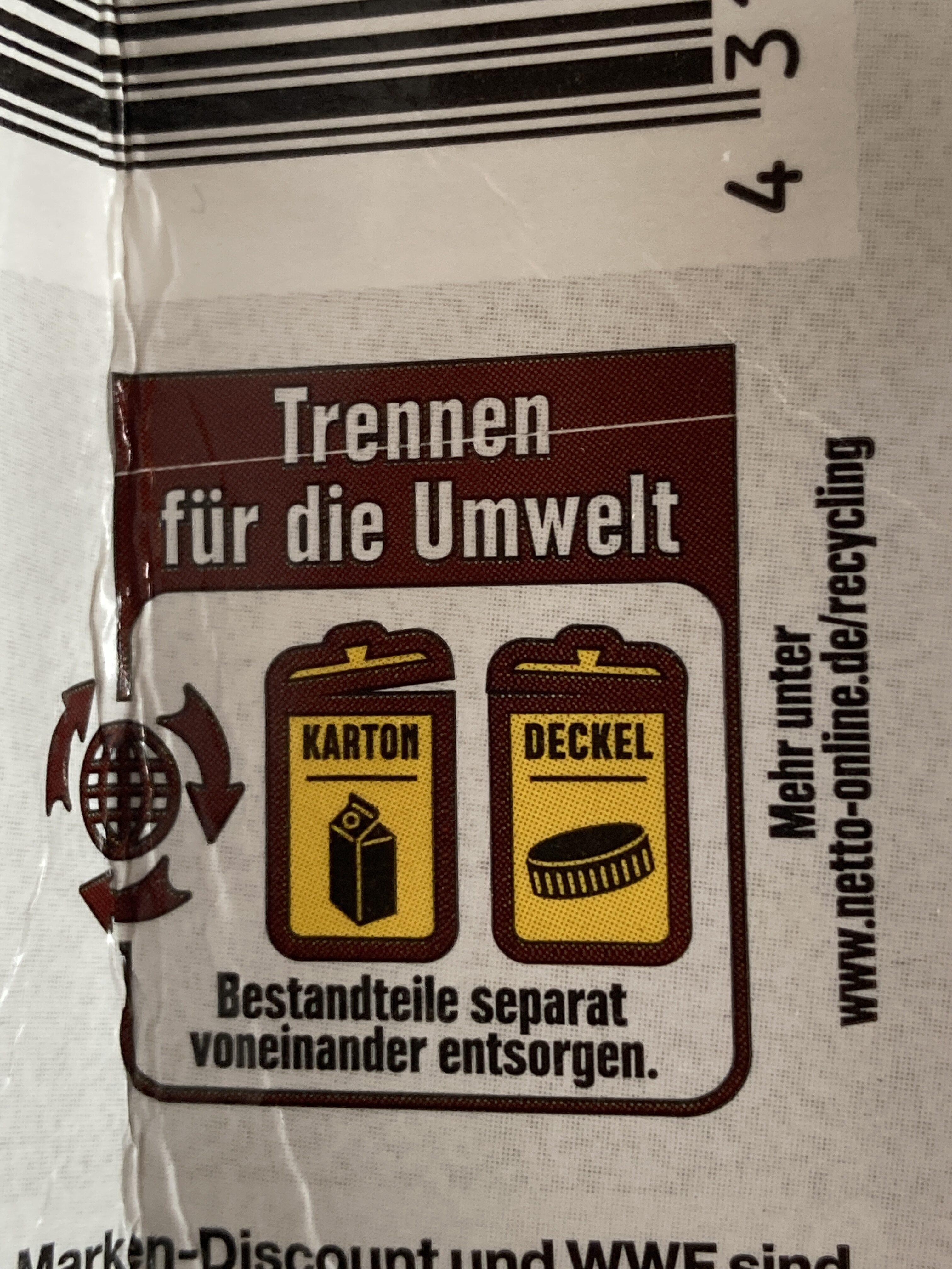 Fettarme milch - Wiederverwertungsanweisungen und/oder Verpackungsinformationen - de