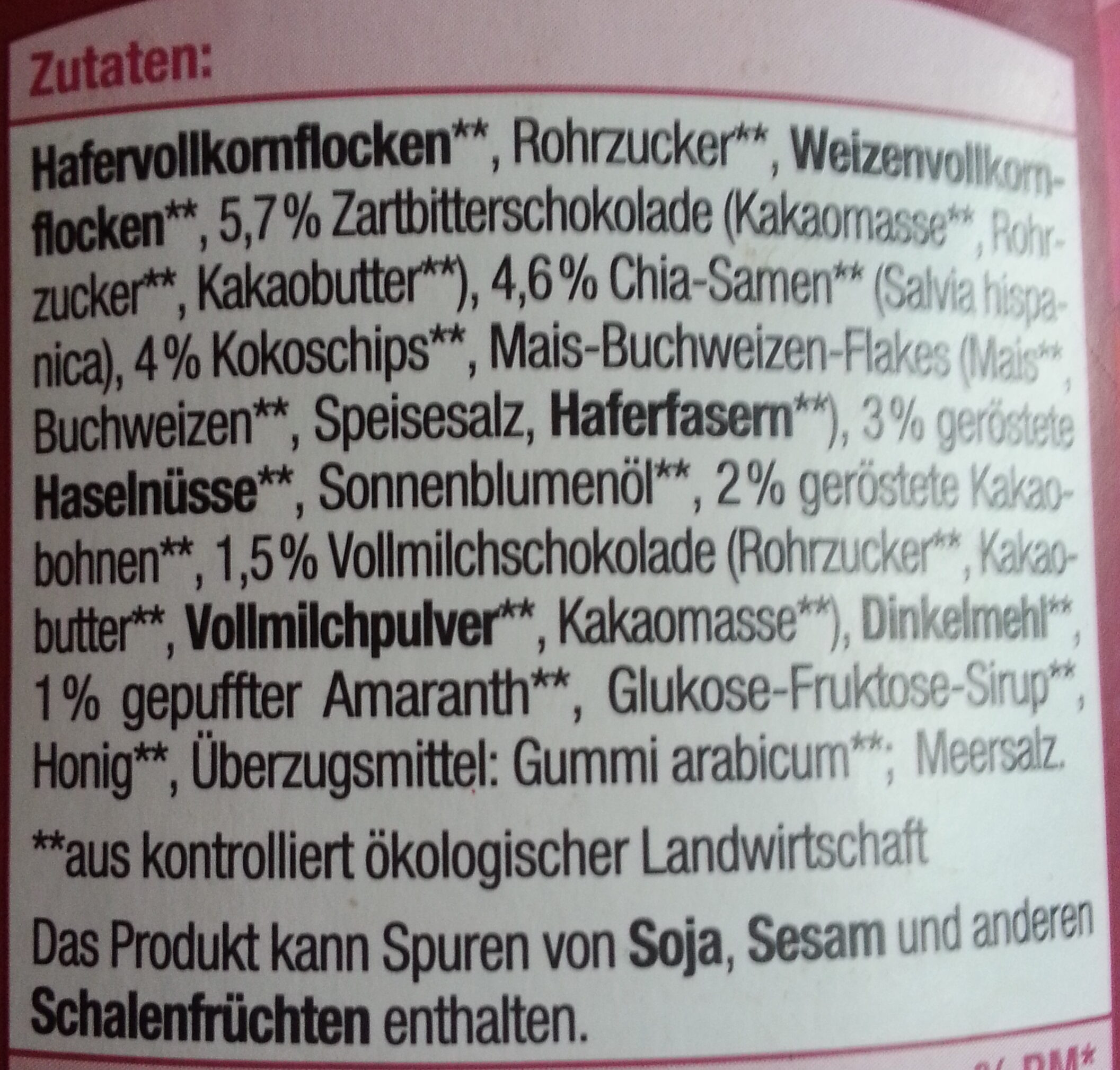 Schick's Müsli - Ingrédients - de