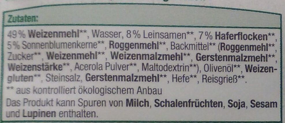 Mehrkorn Brötchen Bio - Ingrediënten - de