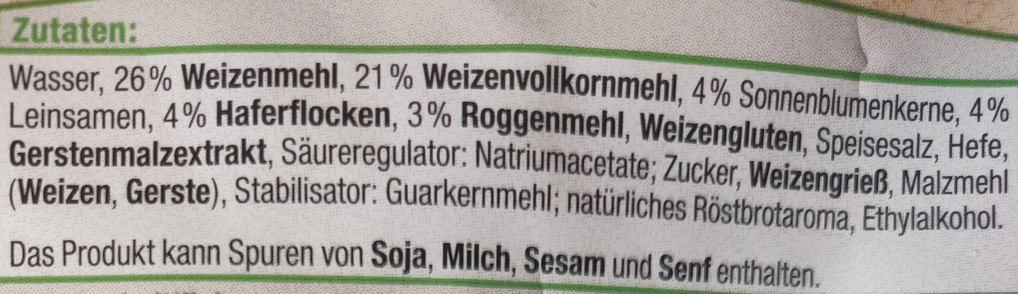 Mehrkornbrötchen - Ingrediënten - de