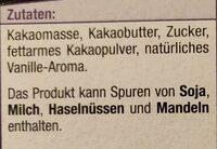 Edel-Zartbitter Schokolade - Zutaten - de