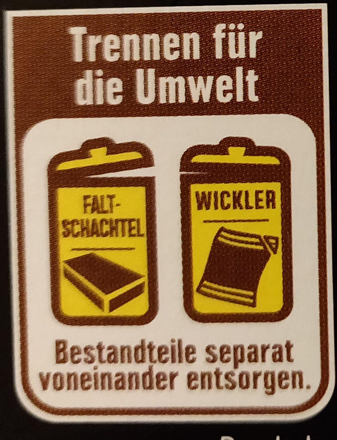 Edel-Zartbitter Schokolade - Wiederverwertungsanweisungen und/oder Verpackungsinformationen - de