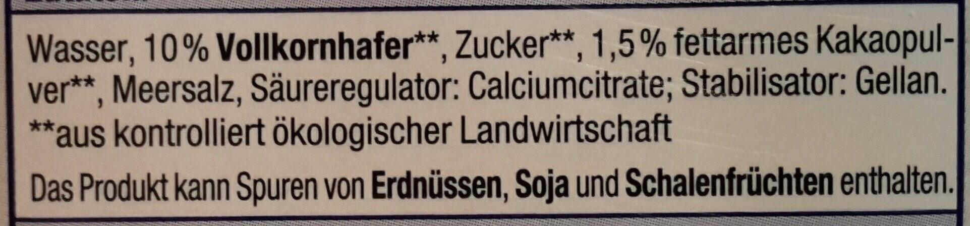 Hafer Drink Schoko - Ingredients - en