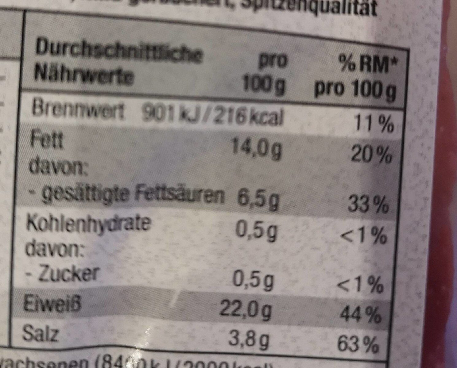 Geflügel Salami mild Geräuchert - Informations nutritionnelles - de