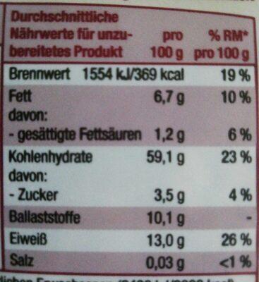 Porridge Beere Vollkorn mit leckeren Früchten - Informations nutritionnelles - de