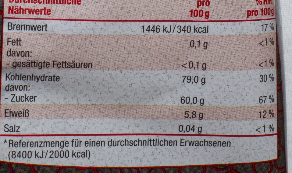Holländische Lakritzbären gezuckert - Nutrition facts