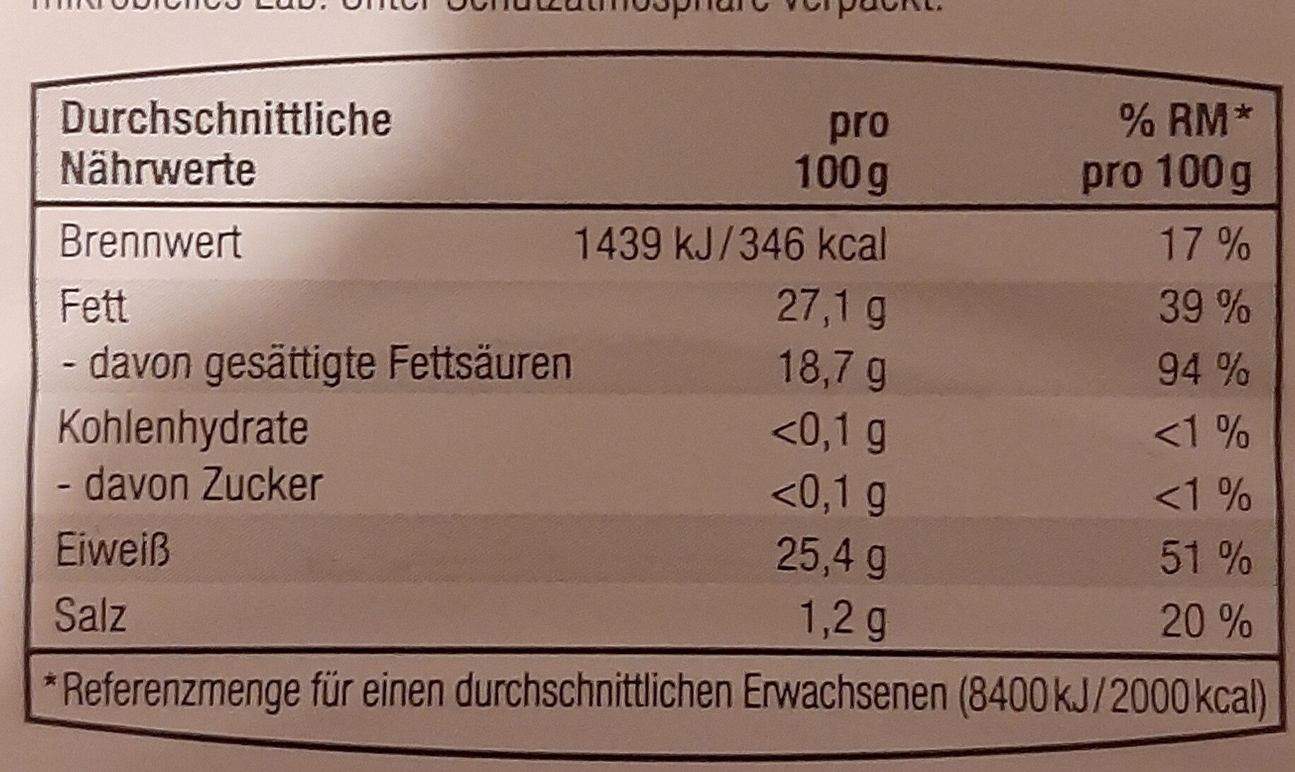 Maasdamer Schnittkäse 45% - Nutrition facts - de