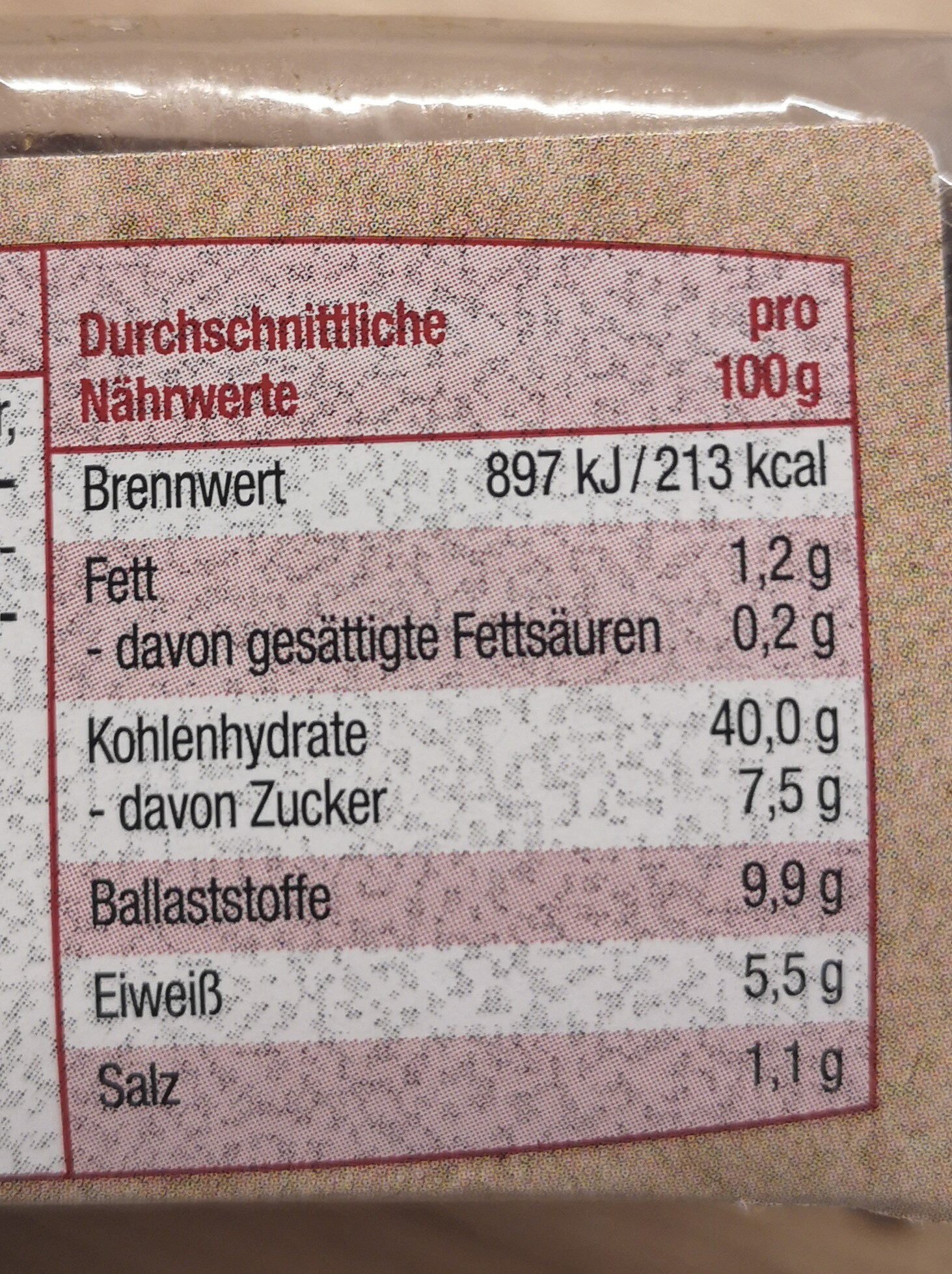 Pumpernickel - Nutrition facts - de