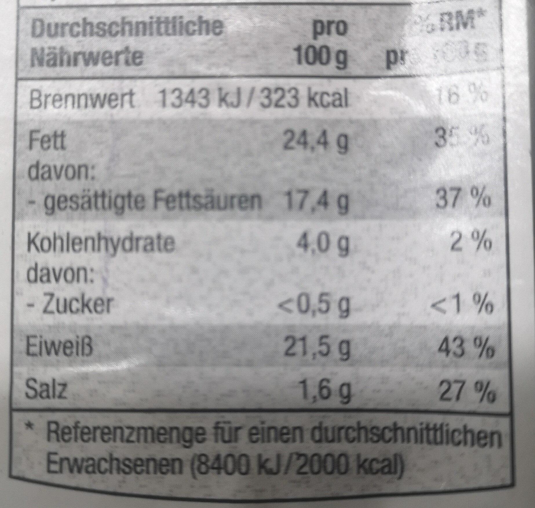 Grilltaler - Voedingswaarden - de