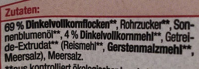 Knusper Dinkel Müsli - Ingrédients - en