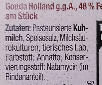 Gouda Holland g.g.A. jung am Stück - Ingredients - de