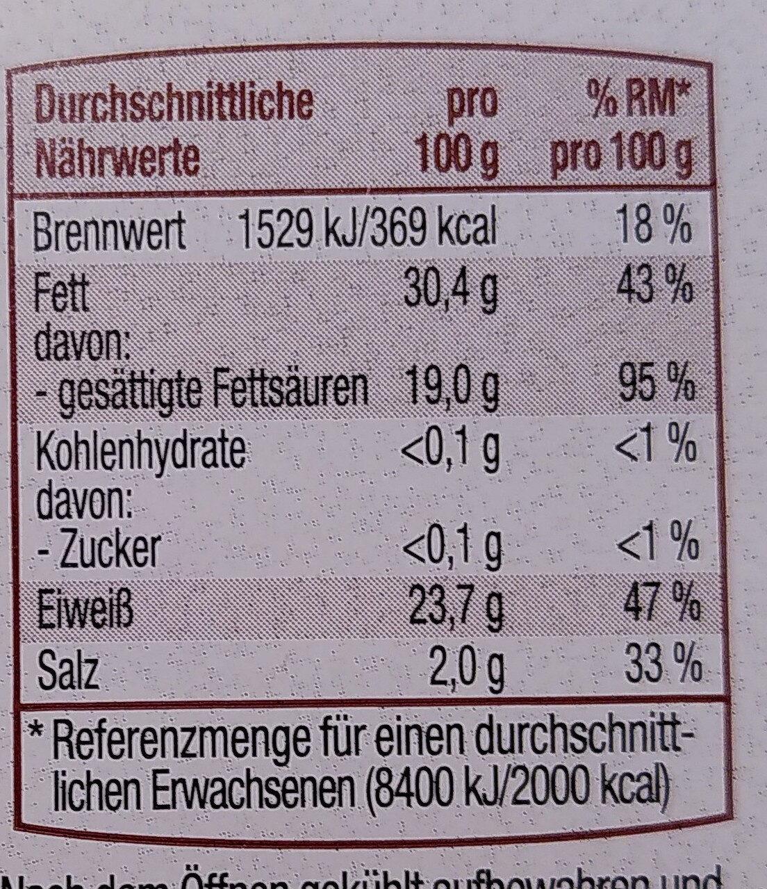 Gouda Holland g.g.A. jung am Stück - Nutrition facts - de