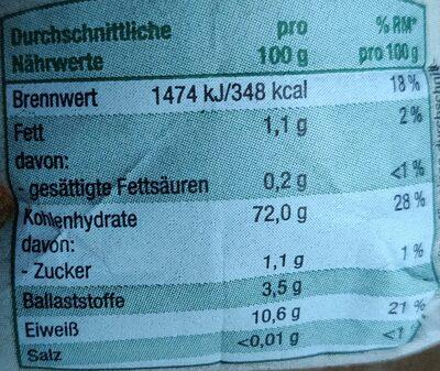 Weizenmehl Type 550 - Informations nutritionnelles - de