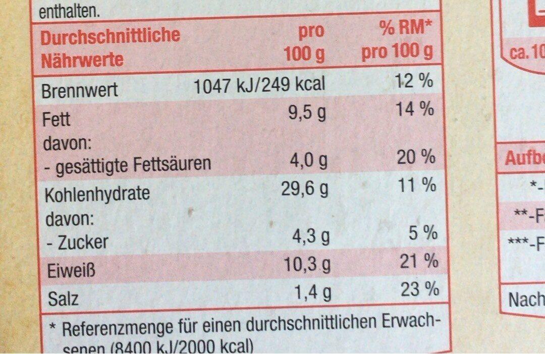 Steinofen Pizza - Valori nutrizionali - de