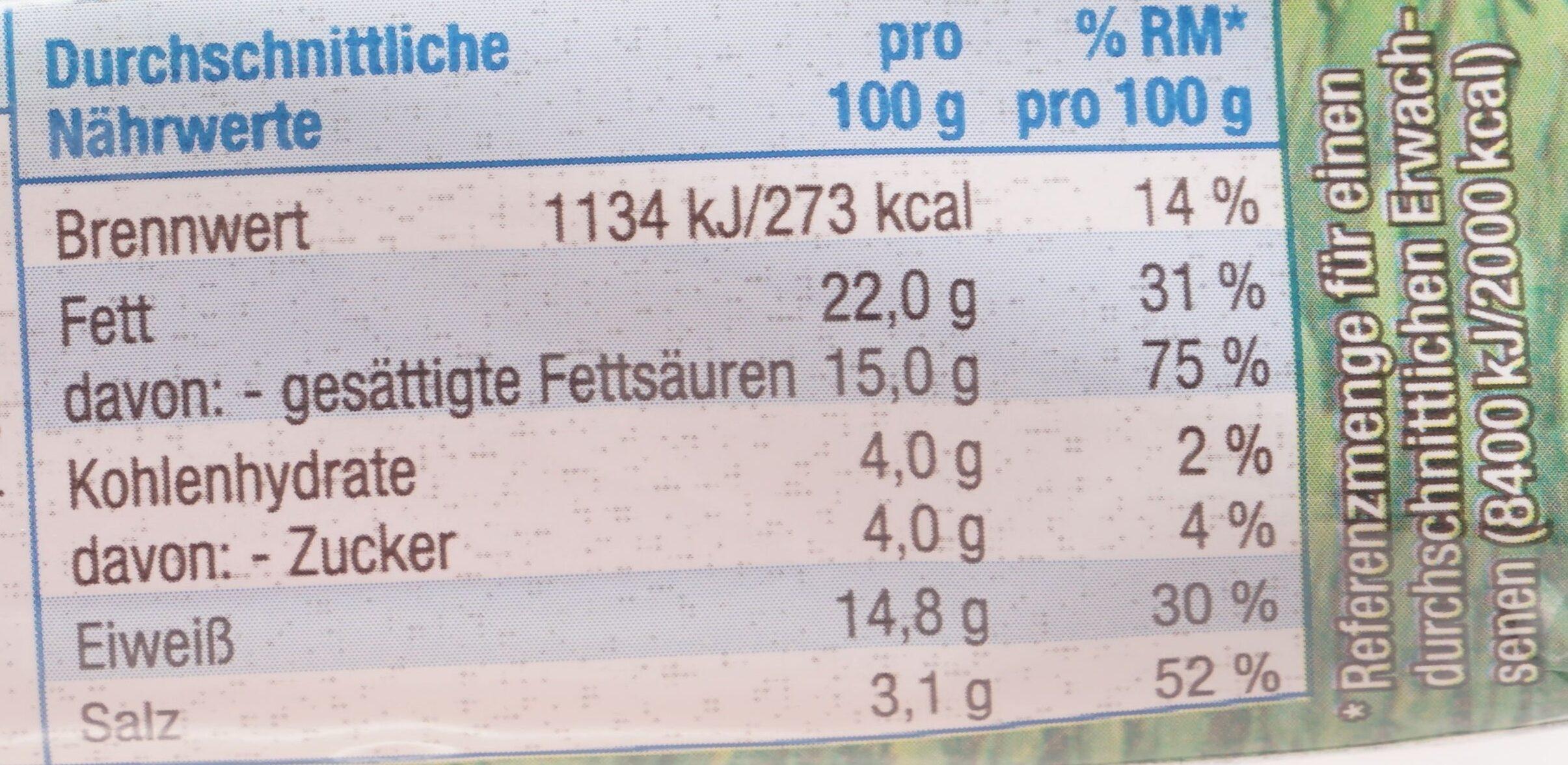 Schmelzkäsescheiben Chester Art - Nutrition facts - de
