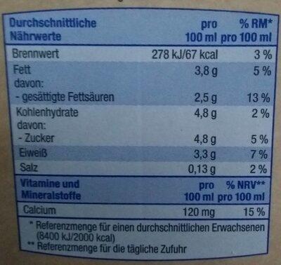 Frische Vollmilch - Nährwertangaben - de