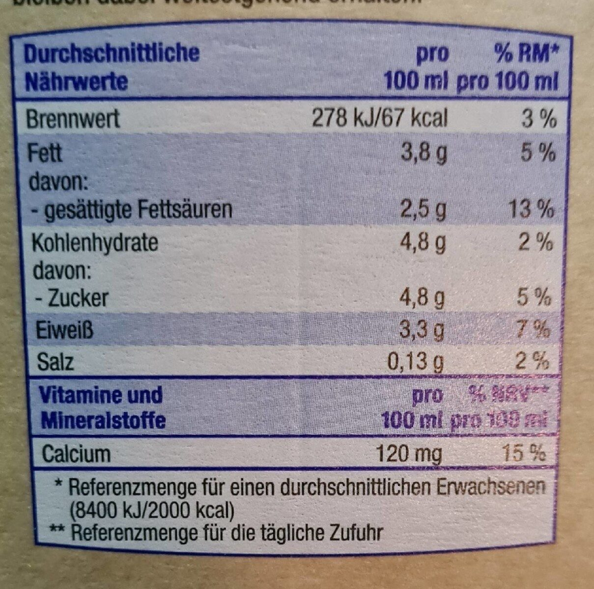 Frische Vollmilch - Informations nutritionnelles - de
