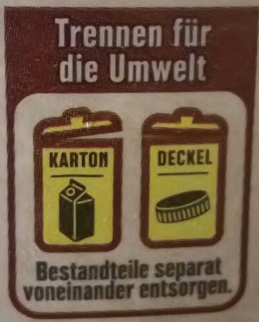 Frische Vollmilch - Instruction de recyclage et/ou informations d'emballage - de