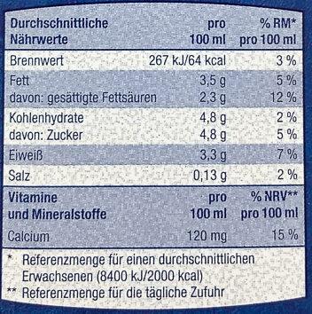 frische Vollmilch länger haltbar - Informations nutritionnelles - de