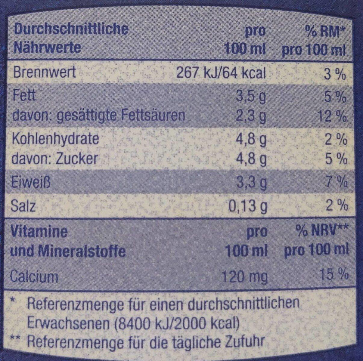 Frische Vollmilch 3,5% - Nährwertangaben - de