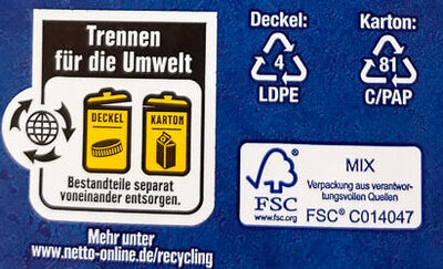 Frische Vollmilch 3,5% - Wiederverwertungsanweisungen und/oder Verpackungsinformationen - de