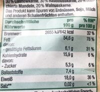 Feinste Nusskern-Mischung ungesalzen - Informations nutritionnelles - de