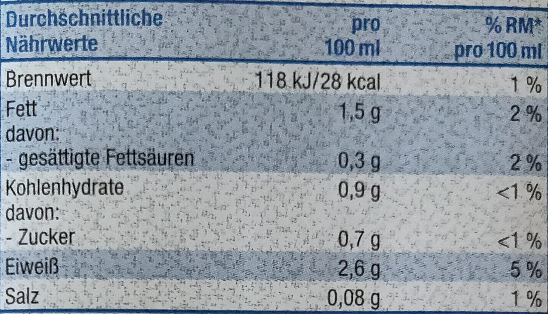 Soja Naturell Drink - Informations nutritionnelles - de