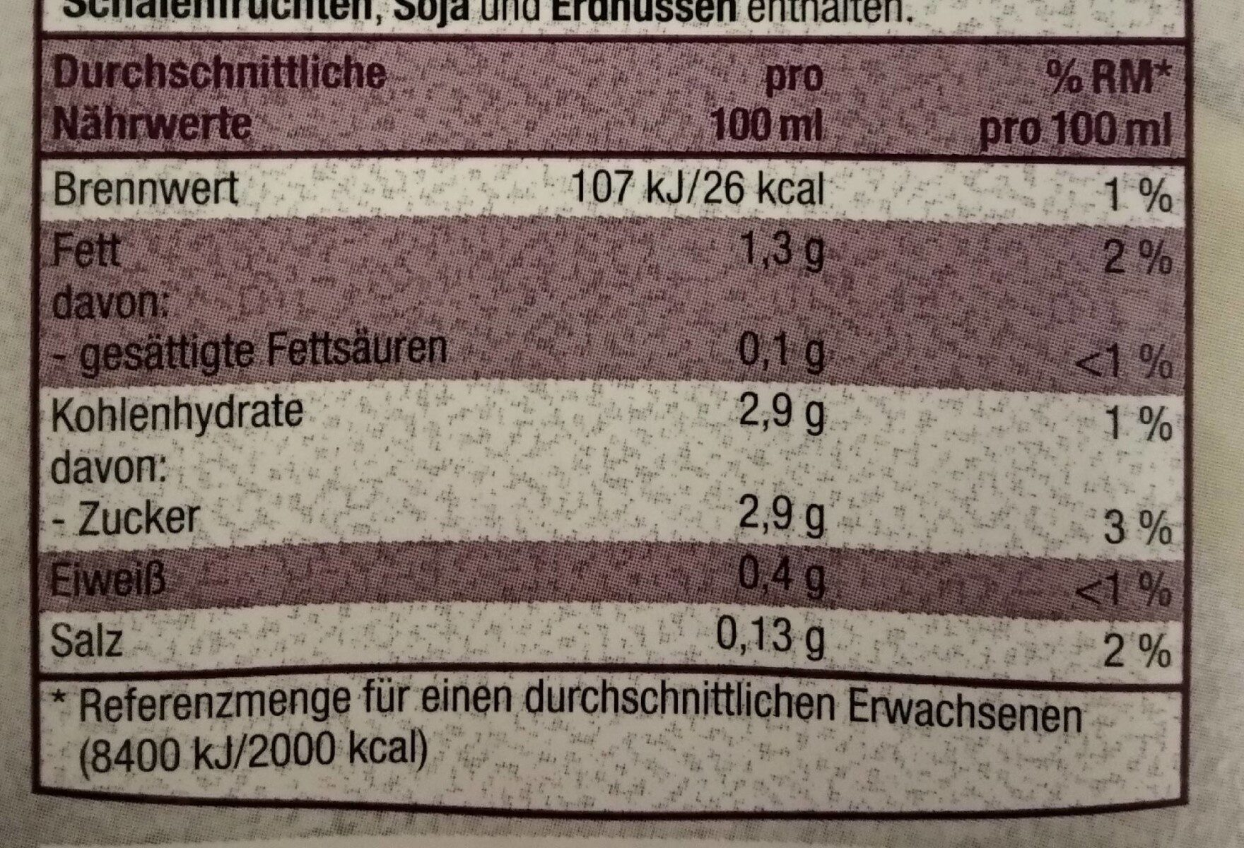Mandel drink gesüßt - Informations nutritionnelles - de